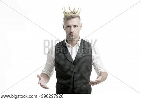 Handsome King. Glory Seeking Man. Man Representing Power And Triumph. Business King. Businessman Wea