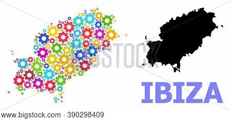 Vector Mosaic Map Of Ibiza Island Done For Engineering. Mosaic Map Of Ibiza Island Is Organized Of R