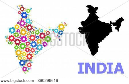 Vector Mosaic Map Of India Created For Services. Mosaic Map Of India Is Constructed With Randomized