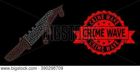 Mesh Net Blood Knife On A Black Background, And Crime Wave Corroded Ribbon Stamp. Red Stamp Contains