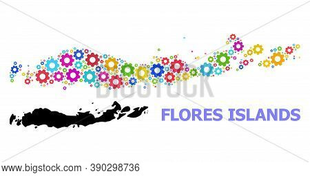 Vector Mosaic Map Of Indonesia - Flores Islands Created For Engineering. Mosaic Map Of Indonesia - F