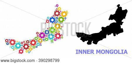 Vector Mosaic Map Of Inner Mongolia Created For Industrial Apps. Mosaic Map Of Inner Mongolia Is Com