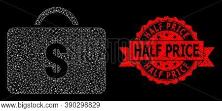 Mesh Polygonal Business Case On A Black Background, And Half Price Rubber Ribbon Stamp Seal. Red Sea