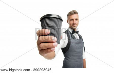 Have Nice Day. Take Your Coffee. Barista In Apron Served Coffee. Coffee Shop Concept. Mature Barista