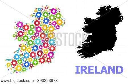 Vector Mosaic Map Of Ireland Island Done For Services. Mosaic Map Of Ireland Island Is Organized Wit
