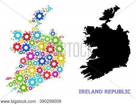 Vector Mosaic Map Of Ireland Republic Designed For Industrial Apps. Mosaic Map Of Ireland Republic I