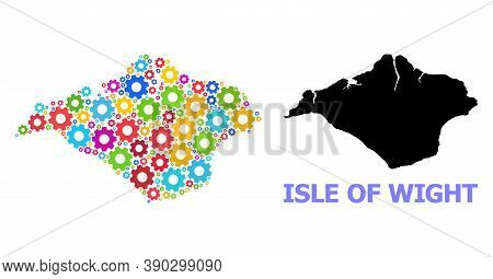 Vector Collage Map Of Isle Of Wight Designed For Workshops. Mosaic Map Of Isle Of Wight Is Done From