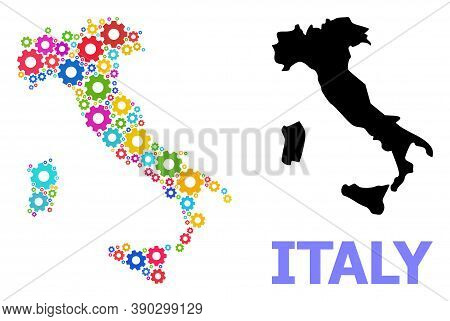 Vector Mosaic Map Of Italy Organized For Engineering. Mosaic Map Of Italy Is Organized Of Scattered