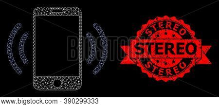 Mesh Polygonal Cellphone Vibration On A Black Background, And Stereo Dirty Ribbon Stamp Seal. Red St