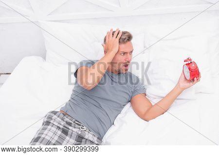 My Head Is Aching. Man Suffering From Headache. Terrible Loud Noise. Insomnia And Sleep Disorder. Da