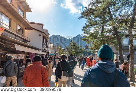 Hiroshima City, Hiroshima Prefecture, Japan - Jan 02 2019 : Miyajima On New Year Japanese Hatsumode