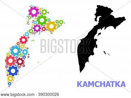 Vector Mosaic Map Of Kamchatka Peninsula Created For Mechanics. Mosaic Map Of Kamchatka Peninsula Is