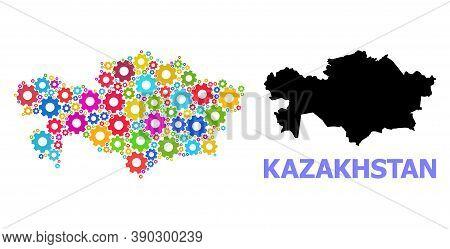 Vector Mosaic Map Of Kazakhstan Constructed For Engineering. Mosaic Map Of Kazakhstan Is Created Of