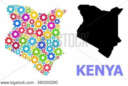 Vector Collage Map Of Kenya Done For Industrial Apps. Mosaic Map Of Kenya Is Done Of Randomized Brig