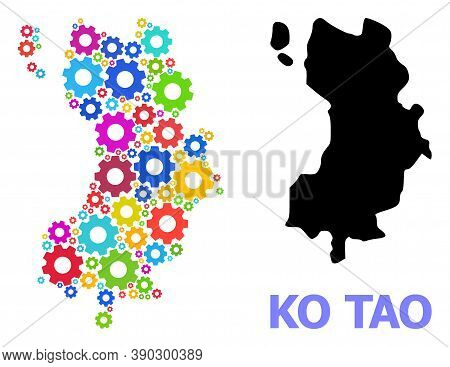 Vector Mosaic Map Of Ko Tao Designed For Engineering. Mosaic Map Of Ko Tao Is Constructed Of Randomi