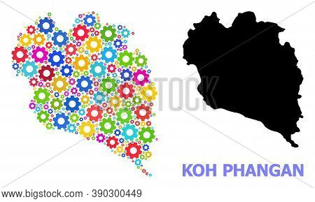 Vector Collage Map Of Koh Phangan Organized For Workshops. Mosaic Map Of Koh Phangan Is Organized Of