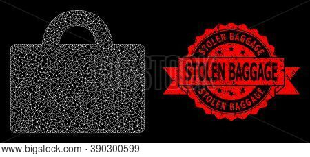Mesh Net Baggage On A Black Background, And Stolen Baggage Textured Ribbon Stamp. Red Stamp Seal Has