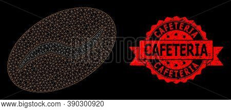 Mesh Polygonal Coffee Bean On A Black Background, And Cafeteria Grunge Ribbon Stamp Seal. Red Seal H