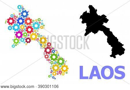 Vector Mosaic Map Of Laos Combined For Engineering. Mosaic Map Of Laos Is Created From Random Bright