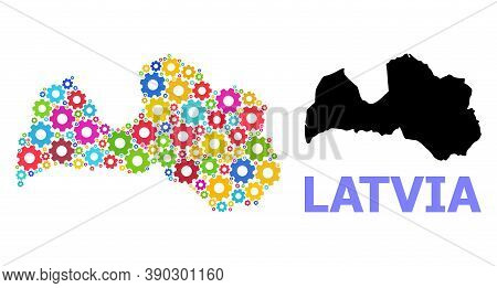 Vector Mosaic Map Of Latvia Combined For Services. Mosaic Map Of Latvia Is Formed With Scattered Bri