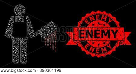 Mesh Network Bloody Butcher On A Black Background, And Enemy Textured Ribbon Watermark. Red Stamp Ha