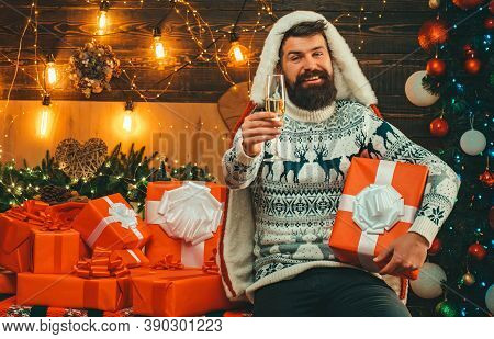 Christmas Santa Wishes Merry Christmas. Man New Years Eve. New Year Party. Santa Claus Wishes Merry