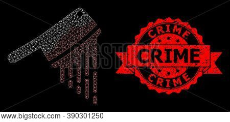 Mesh Net Blood Butchery Knife On A Black Background, And Crime Corroded Ribbon Stamp. Red Stamp Seal