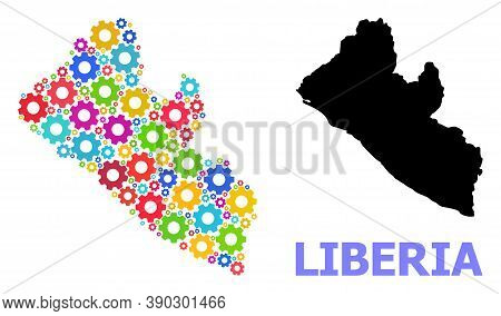 Vector Collage Map Of Liberia Constructed For Services. Mosaic Map Of Liberia Is Constructed With Ra