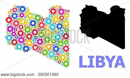 Vector Composition Map Of Libya Done For Workshops. Mosaic Map Of Libya Is Done From Scattered Brigh