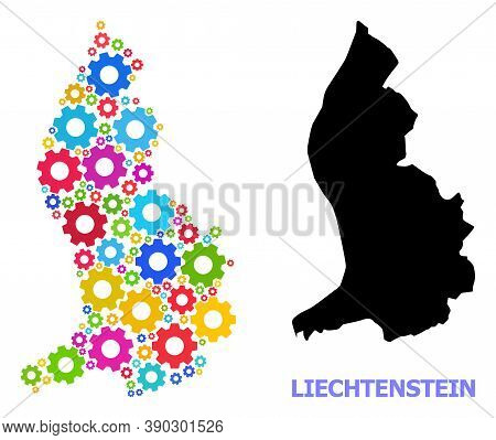 Vector Collage Map Of Liechtenstein Created For Workshops. Mosaic Map Of Liechtenstein Is Created Of