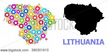 Vector Mosaic Map Of Lithuania Organized For Engineering. Mosaic Map Of Lithuania Is Shaped Of Rando