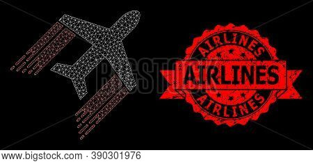 Mesh Network Aviation On A Black Background, And Airlines Rubber Ribbon Stamp Seal. Red Stamp Seal C