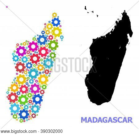 Vector Mosaic Map Of Madagascar Island Organized For Industrial Apps. Mosaic Map Of Madagascar Islan