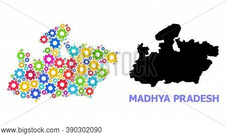Vector Collage Map Of Madhya Pradesh State Done For Services. Mosaic Map Of Madhya Pradesh State Is