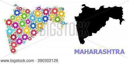 Vector Mosaic Map Of Maharashtra State Created For Workshops. Mosaic Map Of Maharashtra State Is Con