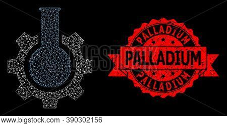 Mesh Network Chemical Industry On A Black Background, And Palladium Rubber Ribbon Seal Print. Red Se