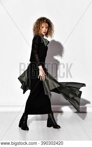 Full-growth Portrait Of Wealthy Slim Curly Woman In Luxury Fashion Tight Dress With Trim And Brutal