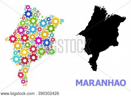Vector Mosaic Map Of Maranhao State Combined For Mechanics. Mosaic Map Of Maranhao State Is Composed