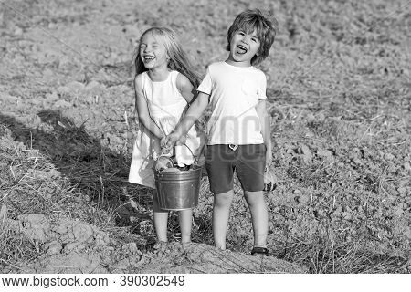 Carefree Childhood. Two Little Children On Countryside Farm. Cute Toddler Girl And Boy Working On Fa