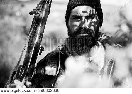 Portrait Of Hamdsome Hunter. Hunter With Shotgun Gun On Hunt. Man Holding Shotgun. Big Game. Deer Hu