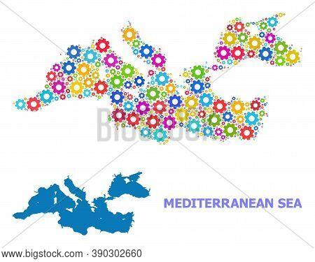 Vector Mosaic Map Of Mediterranean Sea Designed For Industrial Apps. Mosaic Map Of Mediterranean Sea
