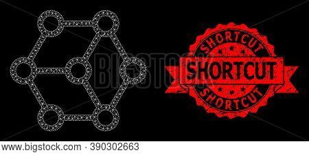 Mesh Network Blockchain On A Black Background, And Shortcut Textured Ribbon Seal Print. Red Stamp Se