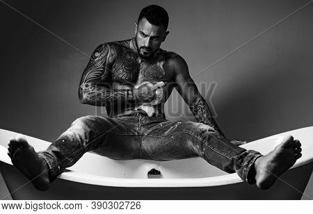 Male Care. Sexy Of Handsome Topless Male Model. Men Bodycare. Men With Well-groomed Male Body. Sexy