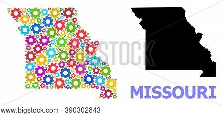 Vector Mosaic Map Of Missouri State Combined For Mechanics. Mosaic Map Of Missouri State Is Formed F