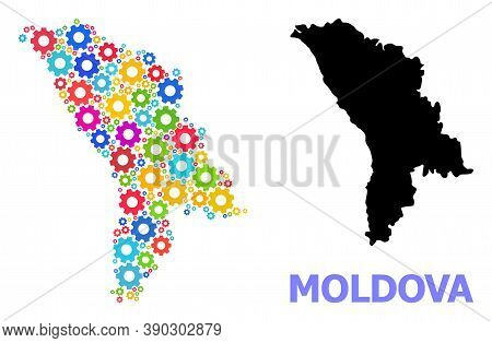 Vector Mosaic Map Of Moldova Combined For Engineering. Mosaic Map Of Moldova Is Made From Scattered
