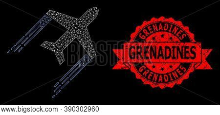 Mesh Polygonal Airplane Trail On A Black Background, And Grenadines Corroded Ribbon Seal Imitation.