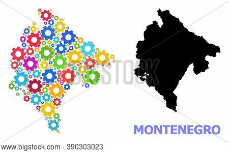 Vector Collage Map Of Montenegro Constructed For Engineering. Mosaic Map Of Montenegro Is Composed O