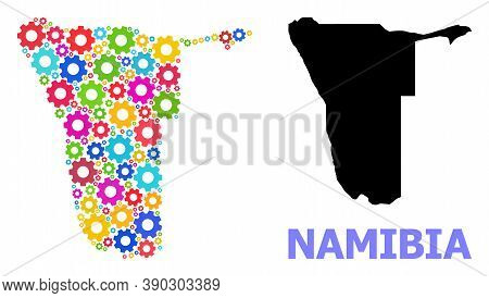 Vector Composition Map Of Namibia Created For Engineering. Mosaic Map Of Namibia Is Constructed From