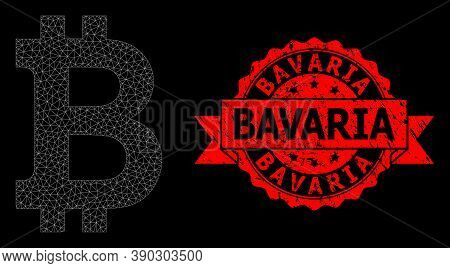 Mesh Net Bitcoin On A Black Background, And Bavaria Textured Ribbon Seal. Red Seal Has Bavaria Capti