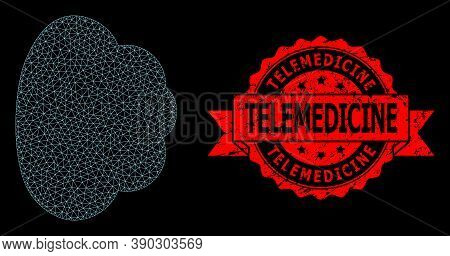 Mesh Web Cloud On A Black Background, And Telemedicine Grunge Ribbon Seal Imitation. Red Stamp Seal